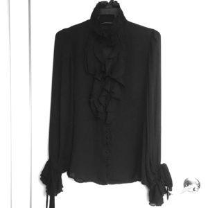 ZARA translucent choker blouse